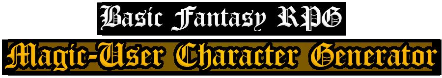 Basic Fantasy RPG Magic-User Character Generator